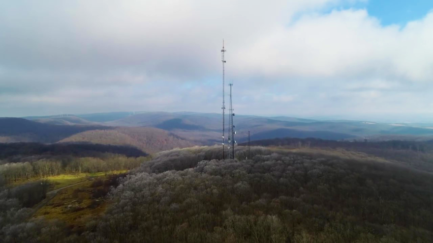 WVPB's transmitter tower for WNPB-TV and WVPM 90.0 Radio sits atop Cooper Rock State Forest