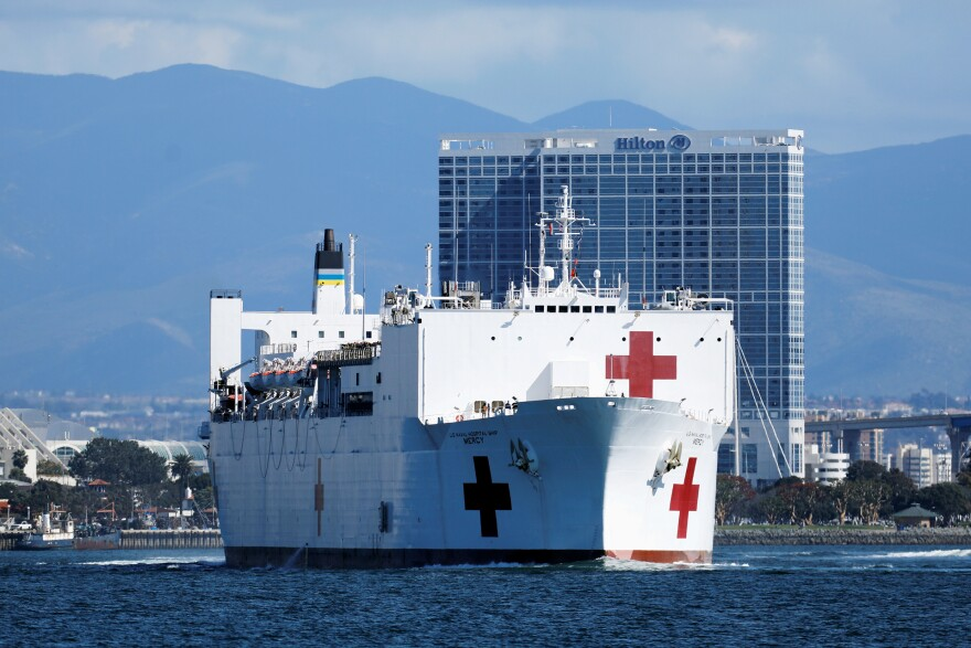 Navy medical and support personnel staff the USNS Mercy, but the hospital ship belongs to the Navy's Military Sealift Command and is run by a crew of civilian mariners. The ship headed to the Port of Los Angeles on March 23 in response to the coronavirus pandemic.