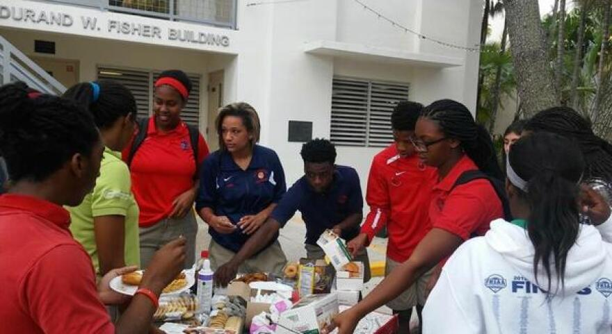Miami Country Day School's Black Student Union holds a bake sale in January 2016.