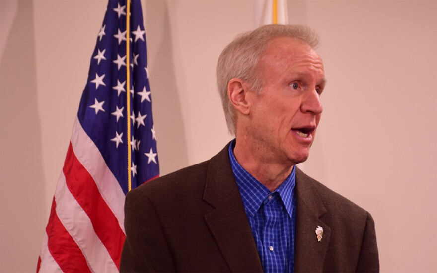 Illinois Gov. Bruce Rauner speaks to reporters on Tuesday, Jan. 16, 2018. Rauner was a major supporter of Greitens' gubernatorial bid, going so far to donate $100,000 to his campaign.