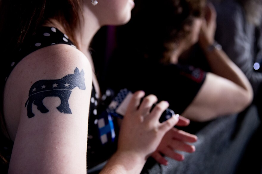 A supporter displays her Democratic donkey tattoo. (Andrew Harnik/AP)