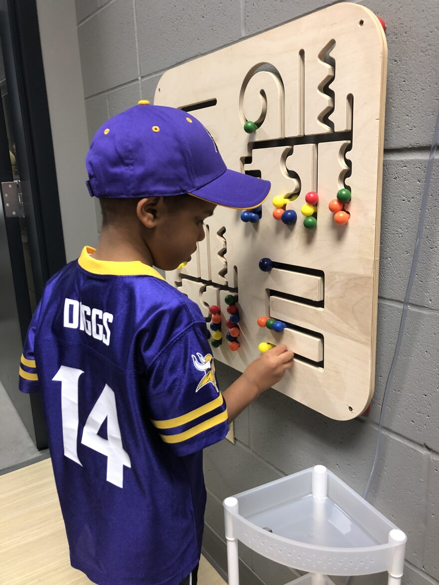 A child enjoys the sensory inclusive space at U.S. Bank Stadium during the Minnesota Vikings' August pre-season.