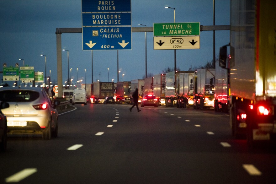 Trucks backed up for miles as they waited to enter the Eurotunnel complex on Dec. 16, in Calais, France. Great Britain and the European Union reached a last-minute post-Brexit trade agreement on Dec. 24.