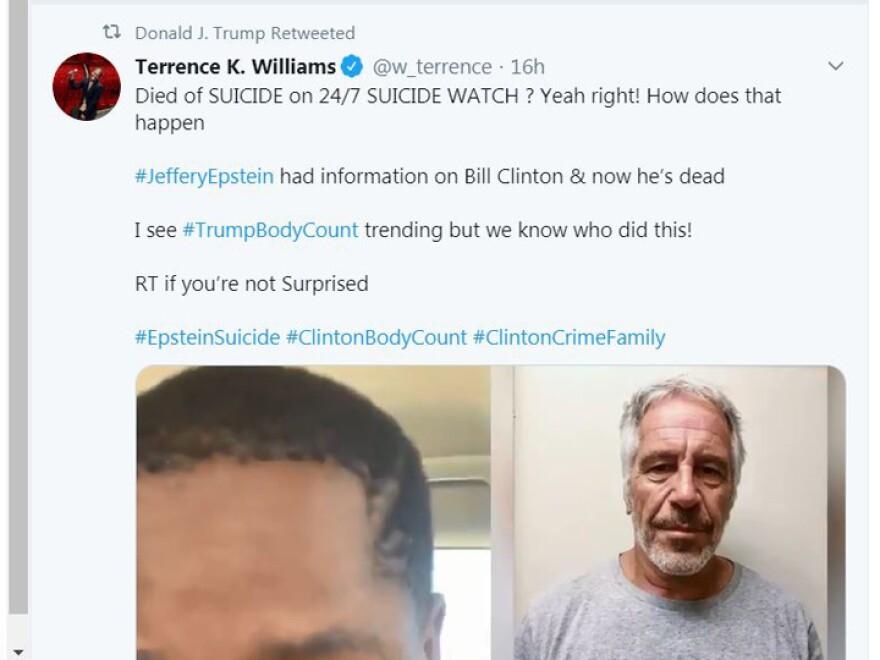 President Trump retweet of Epstein conspiracy.