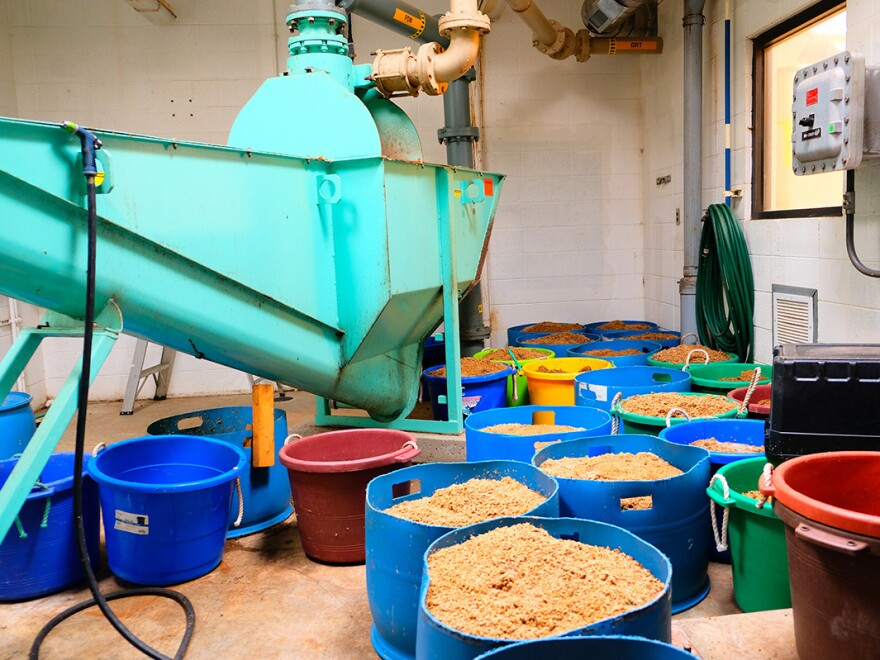 The wastewater treatment facility in Havre, Mont., collects the spent barley from a local brewery to feed the facility's bacteria at the right time in just the right dosage.