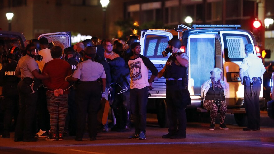 Police in St. Louis arrested more than 80 people in demonstrations on Sunday night.
