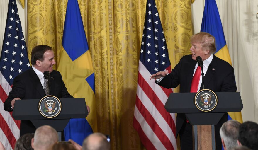 President Trump and Swedish Prime Minister Stefan Lofven hold a joint news conference at the White House on Tuesday.