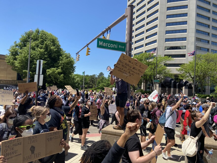 Protestors marched from the Statehouse to Columbus Police Headquarters on May 31.