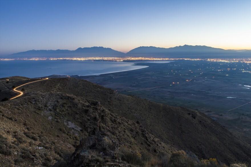 Sunrise over Utah Valley.