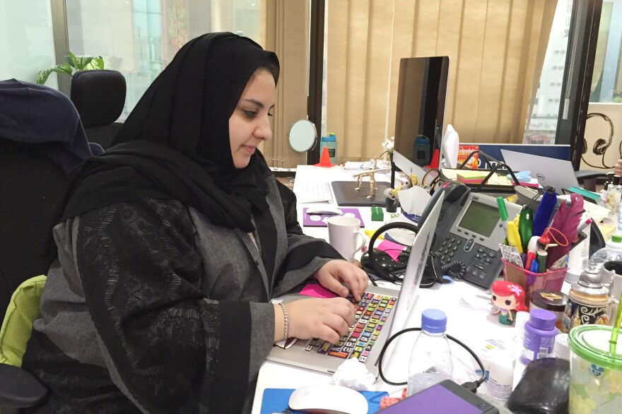 Rasha Abu Samra works in the office of eTree, an online advertising firm. Women outpace men when it comes to advanced degrees in Saudi Arabia, but the rate of unemployment among women is much higher than for men.