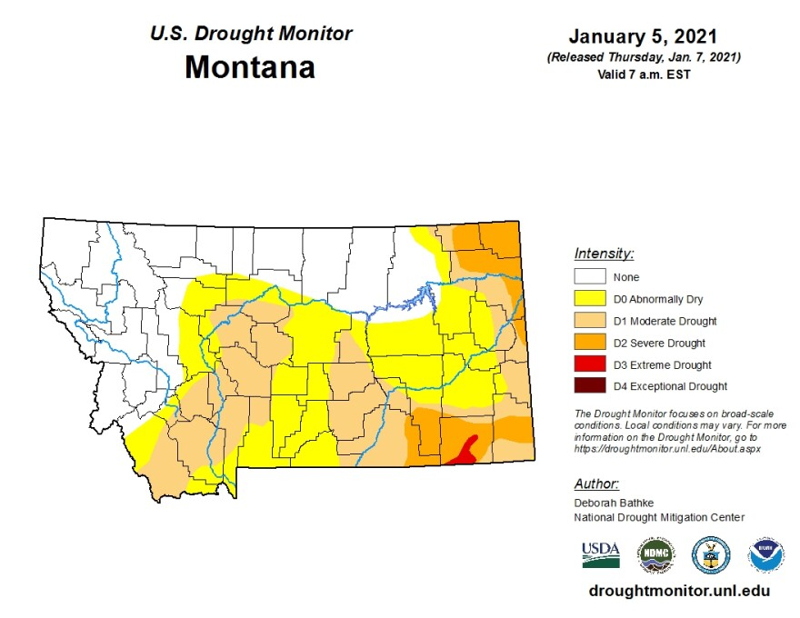 Montana's most recent drought monitoring map, released January 7, 2021.