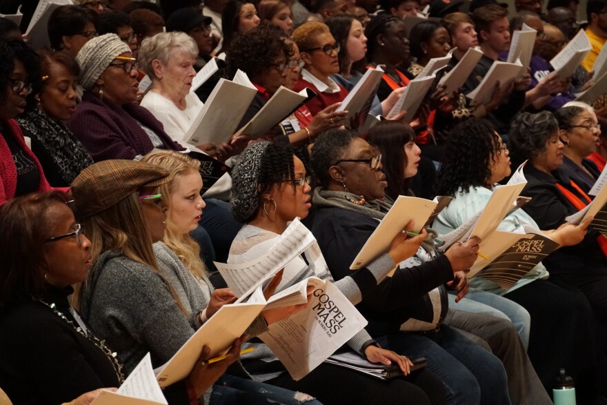 IN UNISON Chorus rehearsing at Powell Hall. Charter member Gwendolyn Wesley, lower left. 2/22/19