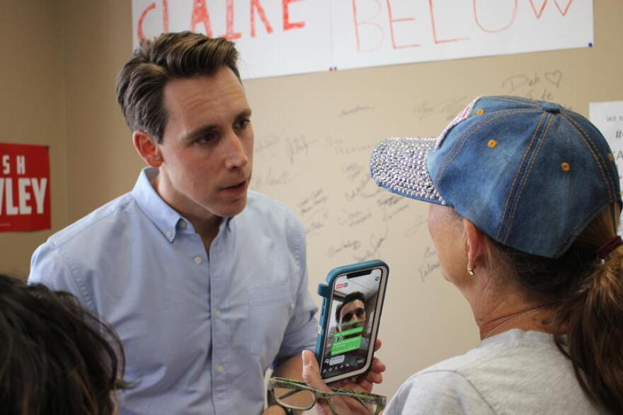 At a 2018 campaign stop in Blue Springs, then-Missouri Attorney General Josh Hawley spoke to crowd of about 50 people.
