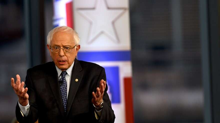 Sen. Bernie Sanders of Vermont participates in a Fox News town hall in Pennsylvania. Sanders is one of 20 candidates running for the Democratic presidential nomination.