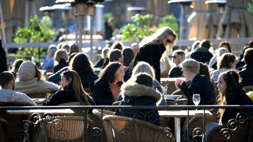 People gathered on a square in central Stockholm on Thursday.