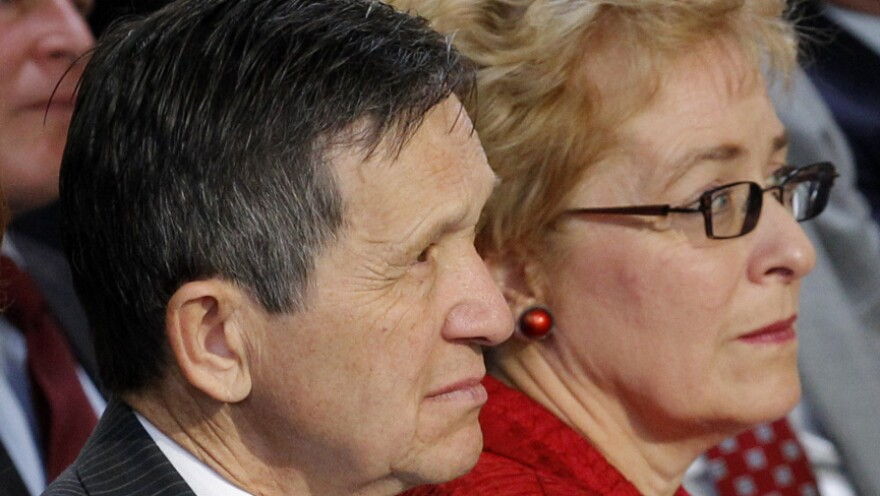 Reps. Dennis Kucinich and Marcy Kaptur on Sept 20, 2011, in Solon, Ohio. The state's new congressional district map has the two veteran Democrats now competing for the same congressional seat.