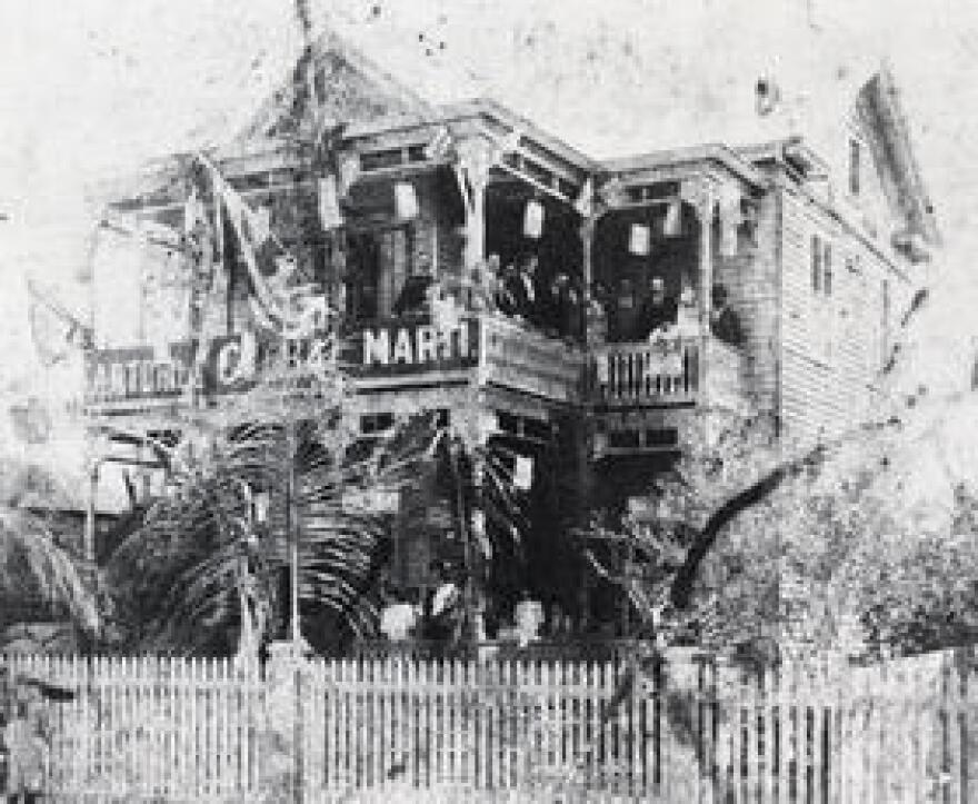 Jose Martí speaking from the home of Teodoro Perez at 1125 Duval St. The property is now a guesthouse known as La Te Da, short for La Terraza de Martí.
