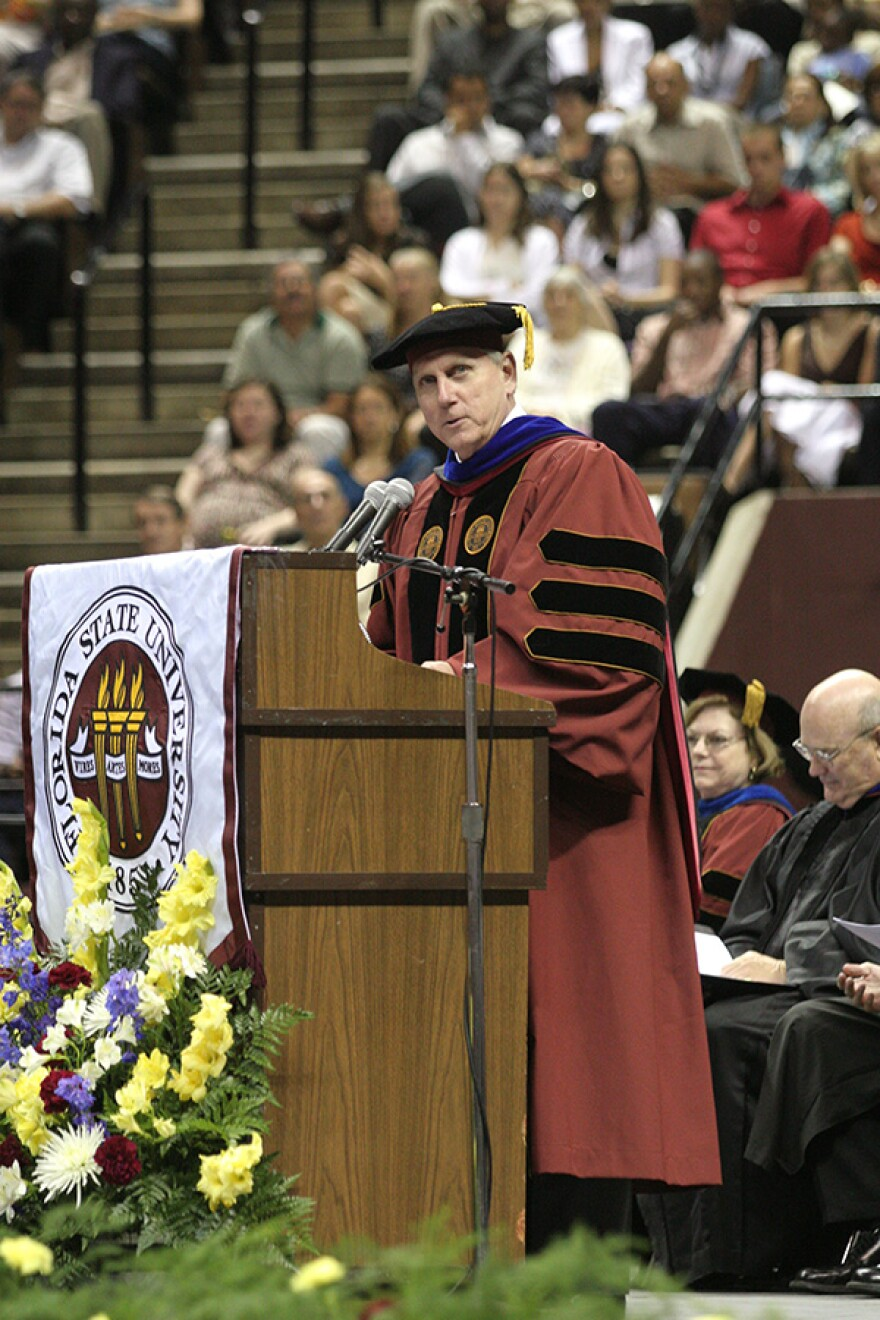 Wetherell presides over Florida State University commencement (undated photo)