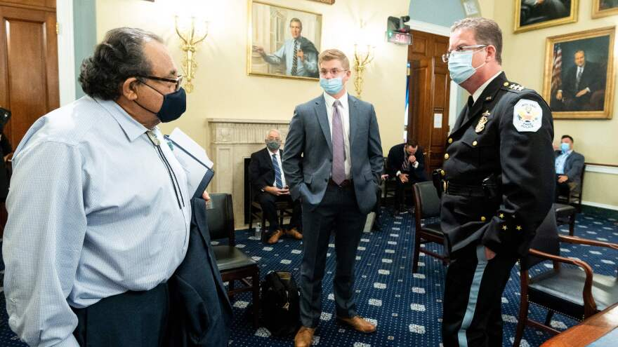 Rep. Raúl Grijalva, D-Ariz., (left) speaks before the start of a House Natural Resources Committee in June. Grijalva recently tested positive for the coronavirus.