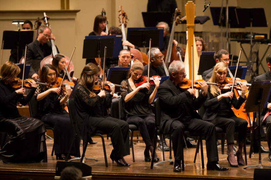 This photo shows the orchestra in a 2016 performance at Powell Hall.