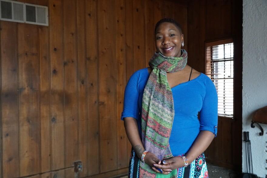 Jamaa Birth Village Tru Kellman at the future site of the Jamaa Birthing Center in Ferguson.