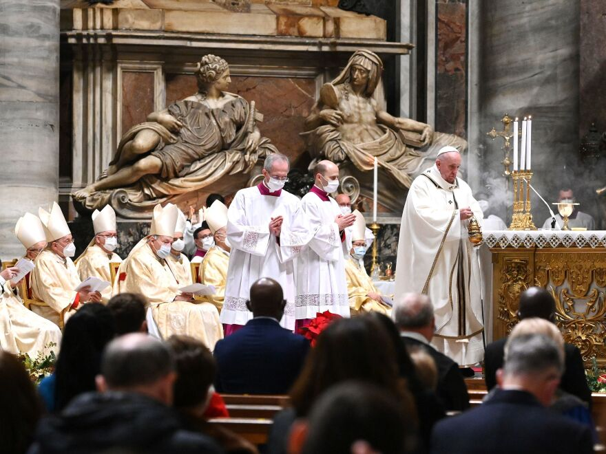 Pope Francis celebrates Christmas Eve Mass on Thursday at St. Peter's Basilica in the Vatican, as Italy went back into lockdown measures due to the COVID-19 pandemic.