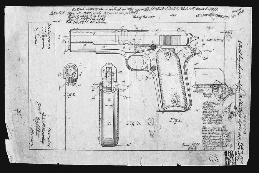 Firearms designer John Browning submitted this design for the M1911 pistol to the U.S. Patent Office in September 1910.