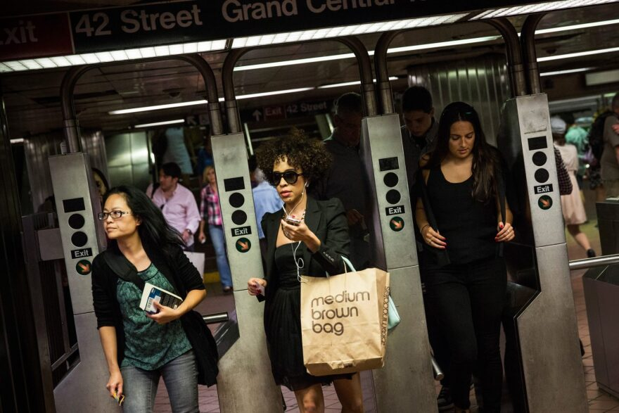 The New York City subway system at rush hour.