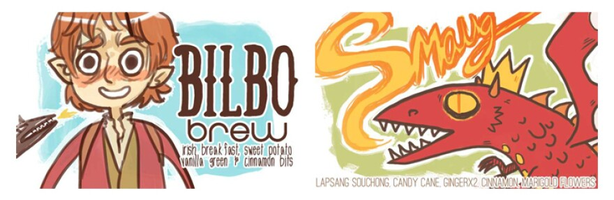 "McGee calls ""Bilbow Brew"" — inspired by <em>The Hobbit --</em> her current favorite fandom blend. It combines Irish breakfast, sweet potato and vanilla green teas, and tastes ""kind of like breakfast in the Shire,"" she says. ""Smaug,"" on the other hand, has lapsang souchong, candy cane and ginger teas in it."