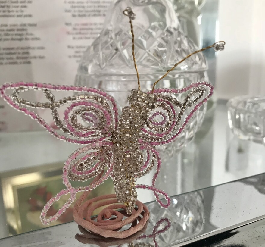 pink beaded butterfly art