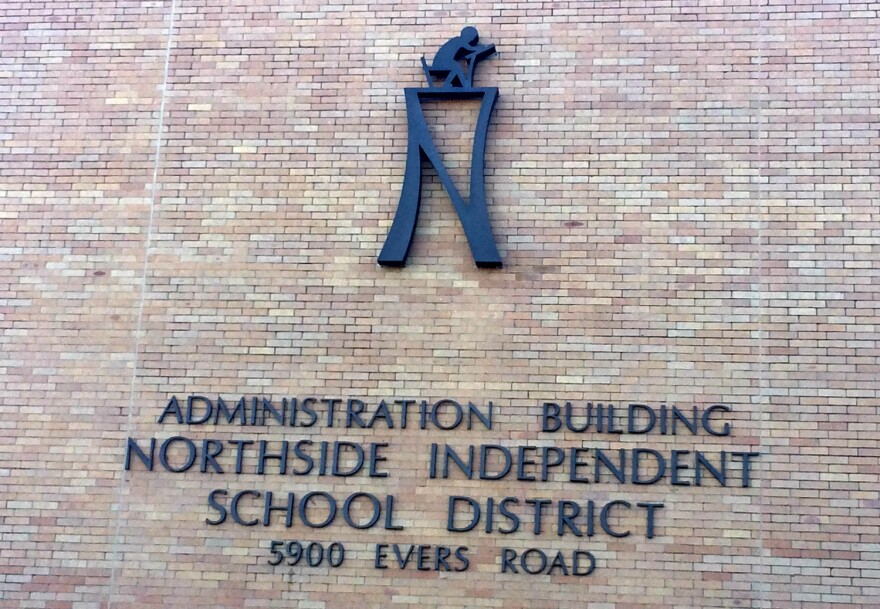 The Northside Independent School District brand logo on the side of the district's central office.