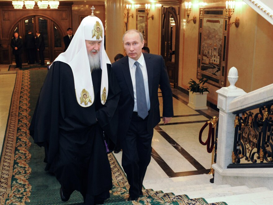 Russian Orthodox Patriarch Kirill, shown here in February with Vladimir Putin, has demanded a harsh punishment for the women who staged the protest at Moscow's main cathedral.