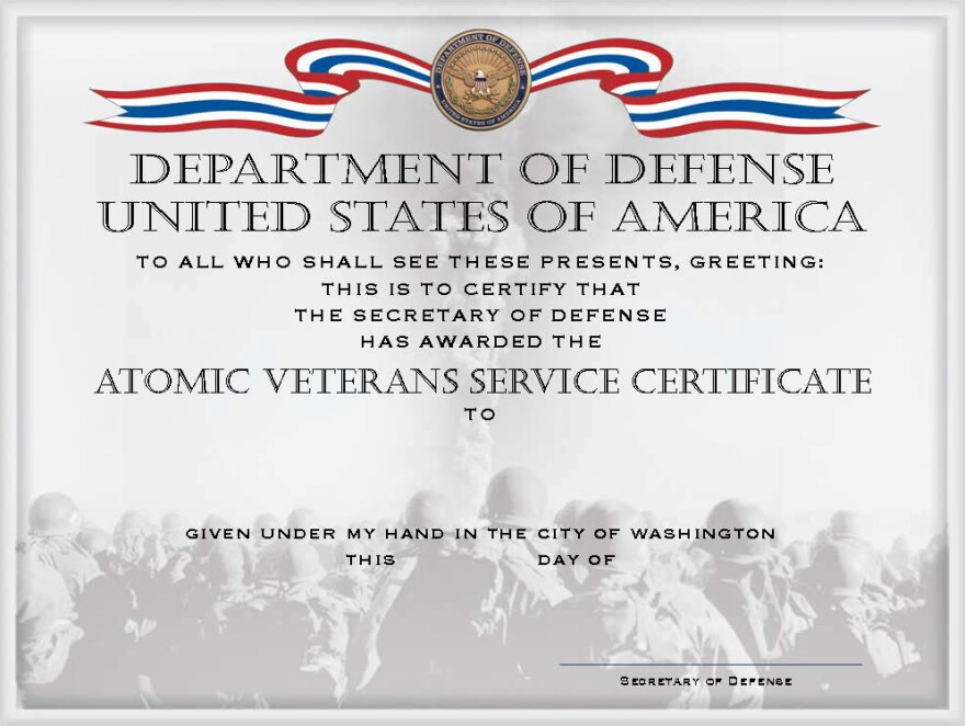 An image on a Department of Defense website shows a prototype of the certificate the department is offering to atomic veterans.