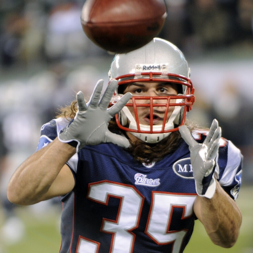 New England Patriots safety Ross Ventrone catches a pass before an an NFL game against the New York Jets and on Nov. 13, 2011, in East Rutherford, N.J.