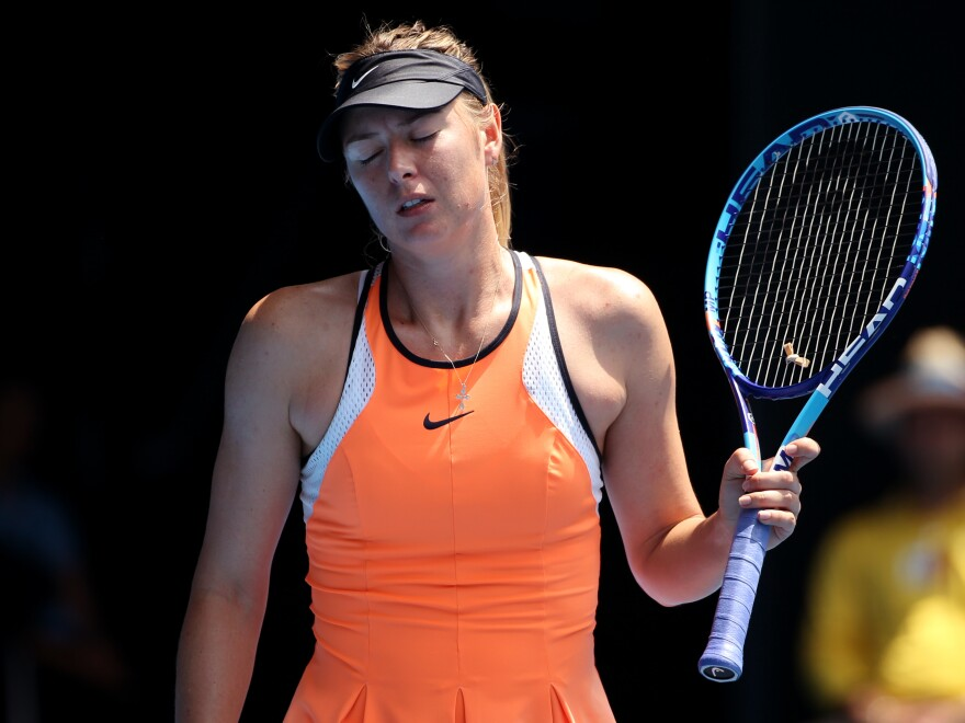 Maria Sharapova during her quarterfinal match at the Australian Open tennis tournament in January. A drug test Sharapova took during the event later came back positive for the banned substance meldonium.
