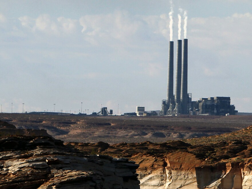 The main plant facility at the Navajo Generating Station, as seen from Lake Powell in Page, Ariz.