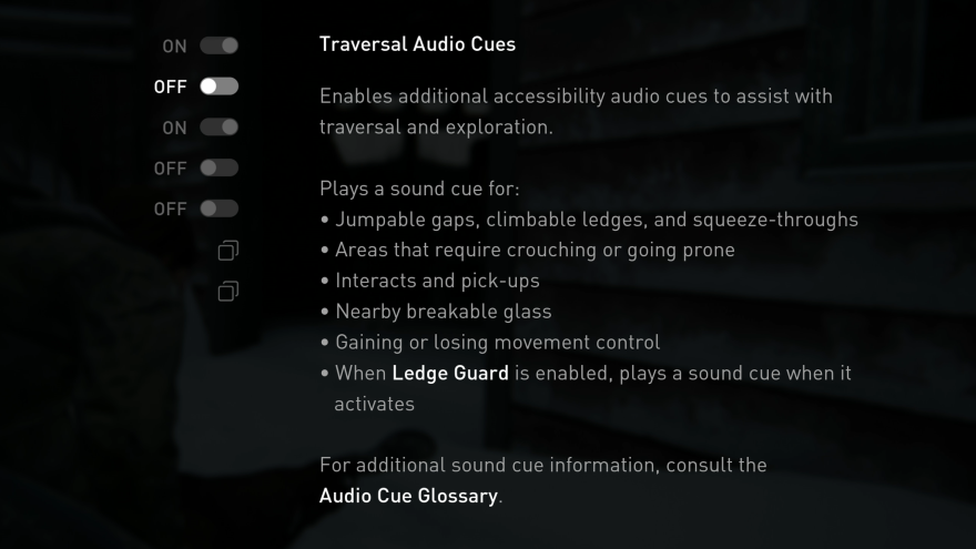 A menu of audio cues that can guide visually impaired players.