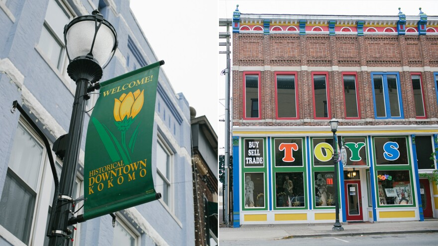 Left: A sign in downtown Kokomo and Right: Kokomo Toys & Collectibles on Sycamore Street in Kokomo.