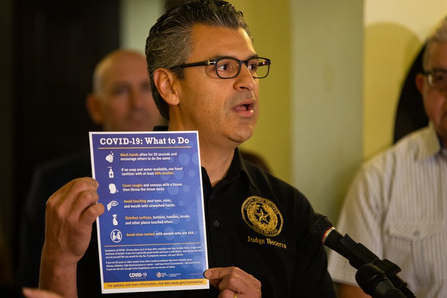 Hays County Judge Ruben Becerra speaks during a joint press conference at the Hays County Courthouse on Sunday declaring a state of disaster due to the coronavirus.