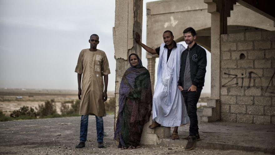 Noura Mint Seymali with her bandmates Ousmane Touré, Jeiche Ould Chighaly and Matthew Tinari.