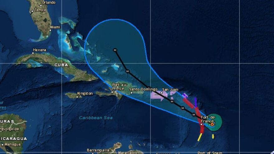 Hurricane Maria was a Category 5 storm with maximum sustained winds of 160 mph as of Monday afternoon, striking the Leeward Islands on Monday night.