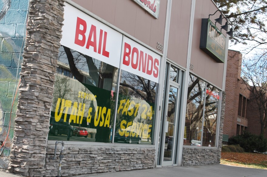 Photo of a bail bonds storefront