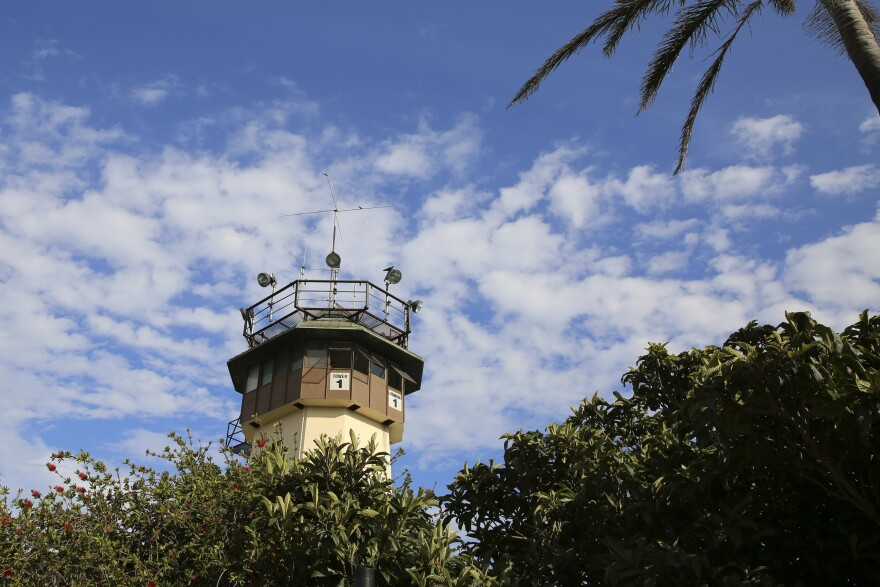 The watch tower looms over San Quentin State Prison in California.