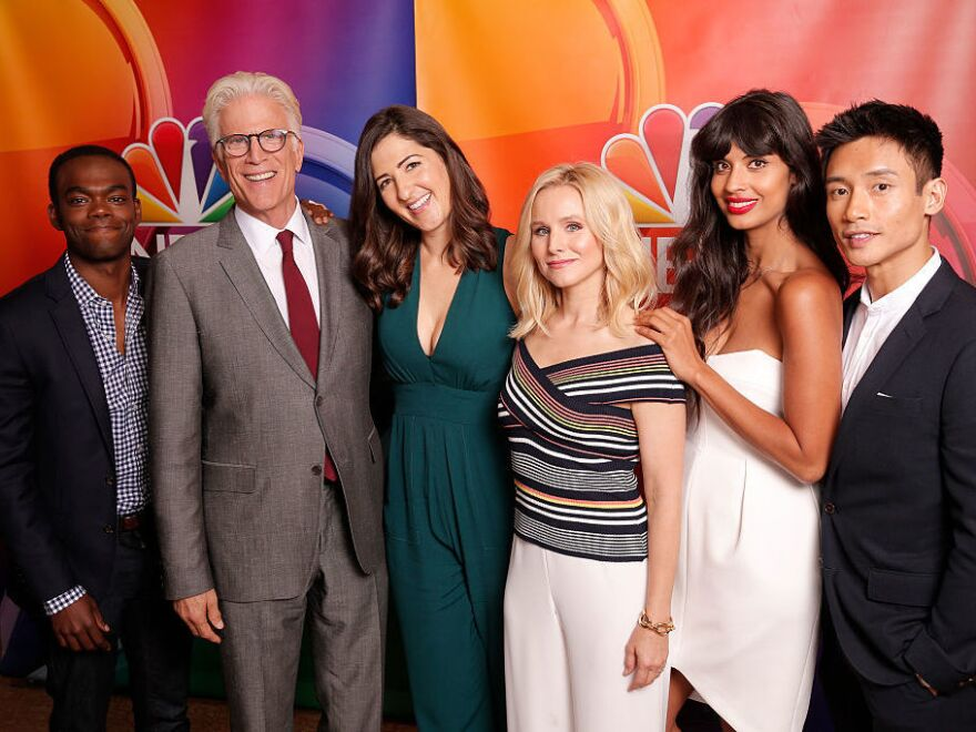 """NBC's """"The Good Place"""" cast during the Aug. 2, 2016. press appearance (left to right): William Jackson Harper, Ted Danson, D'Arcy Carden, Kristen Bell, Jameela Jamil, Manny Jacinto."""