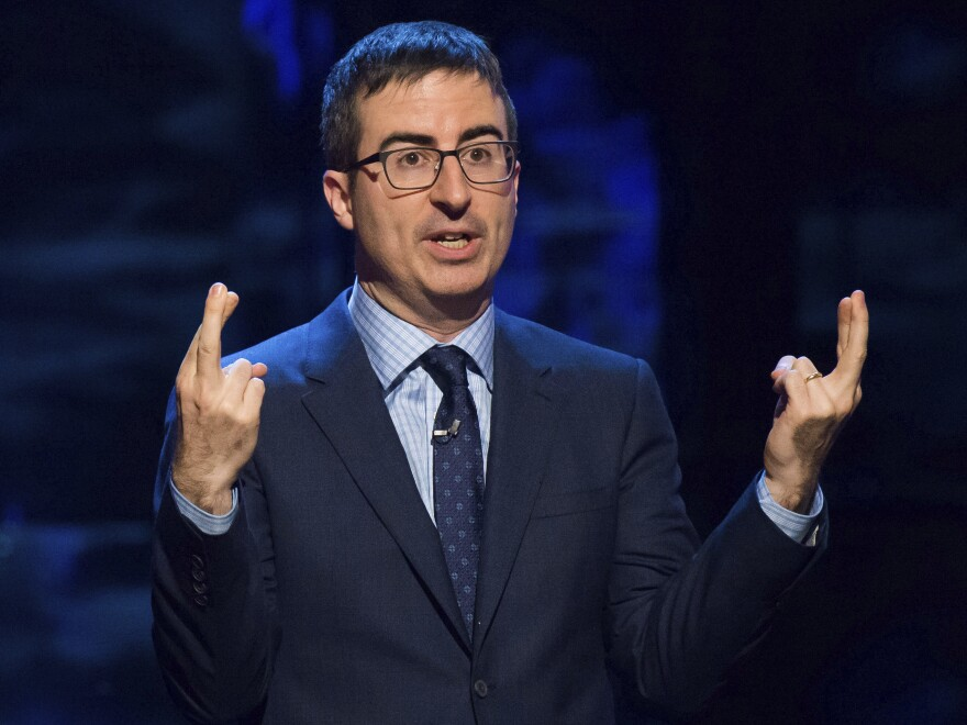 "John Oliver speaks at Comedy Central's ""Night of Too Many Stars: America Comes Together for Autism Programs"" in New York in 2015."
