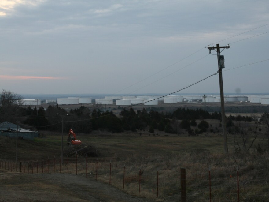Giant oil tanks like these stretch for miles in Cushing.