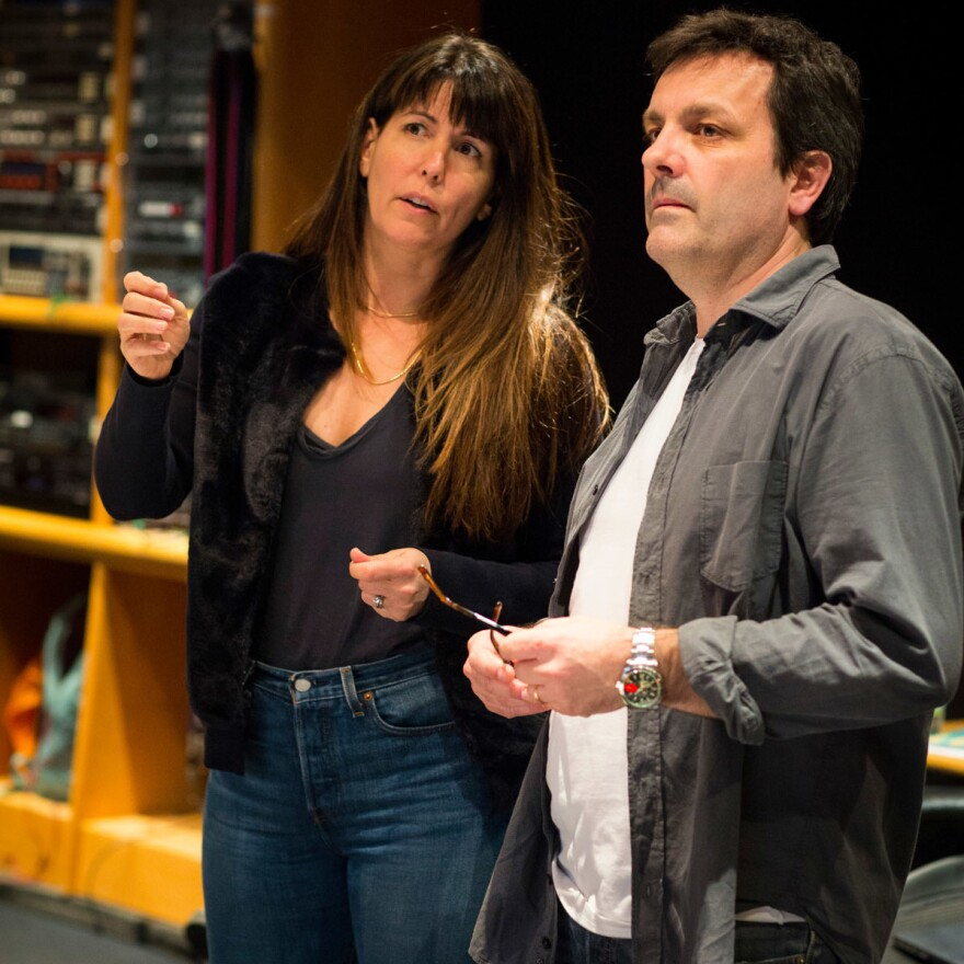 <em>Wonder Woman</em> director Patty Jenkins consults with composer Rupert Gregson-Williams.