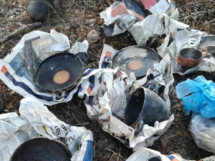 Ancient artifacts wrapped in newspapers and plastic bags were discovered by firefighters under bushes in central Greece