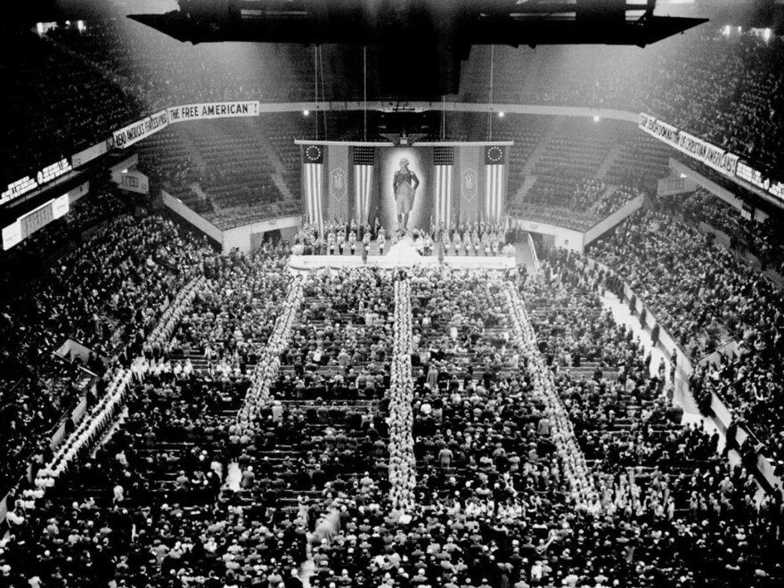 """Nazi storm troopers fill the aisles as the crowd sings """"The Star-Spangled Banner"""" at the opening of the German American Bund's rally at Madison Square Garden."""