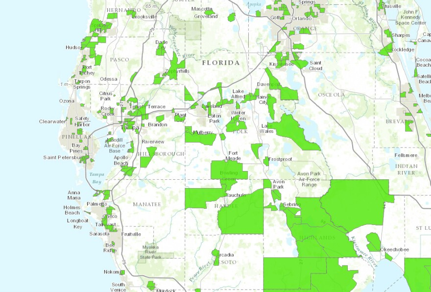 Food deserts at a glance around Tampa Bay.